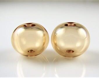 Regular Hollow SALE - Peach Lampwork Glass Hollow Bead Pairs