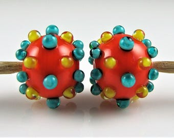 Orange Dotted Hollow Lampwork Glass Bead Pairs