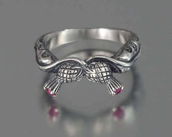 RESERVED for S. 2nd payment - THISTLE BRANCH silver band with Rubies