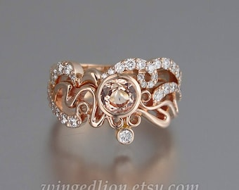 ODELIA Morganite 14K rose gold engagement ring & wedding band set with white sapphires Art Nouveau inspired