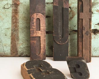 Vintage Large Printers Type Block Letter FREE SHIPPING