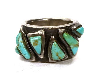 60s Navajo Turquoise & Sterling Silver Ring / Vintage Old Pawn Native American Jewelry / Unisex Cigar Band Style / Size 6.25