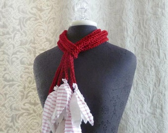 The Lily Lariat in red - Crocheted Scarflette - Skinny Scarf