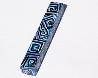 Geometric Mezuzah - Blue and Purple Mezuzah Case - Gift for Bar or Bat Mitzvah, Housewarming, or Wedding - Handpainted Judaica
