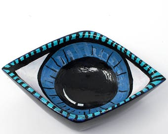 Evil Eye Decor - Evil Eye Bowl or Dish for Rings, Jewelry, Coins, or Keys - Hand Painted Bowl - New Apartment, Housewarming, Engagement Gift