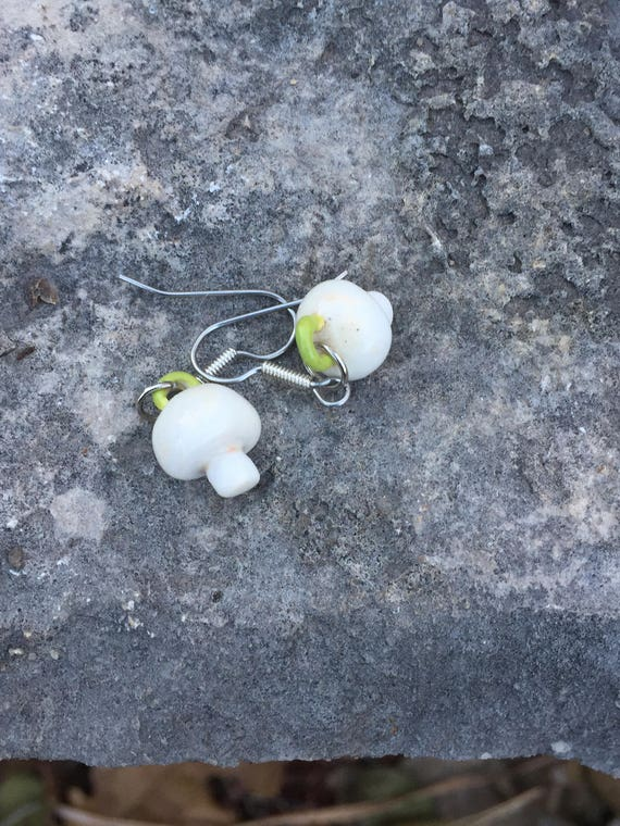 porcelain button mushroom earrings in white