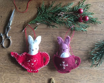 Friends for Tea Bunnies Pattern - Christmas Felt Ornament Decoration Pattern - Felt Bunny Pattern - PDF Instant Download