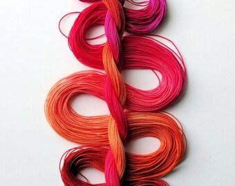 "Size 20 ""Solar Flare"" hand dyed thread 6 cord cordonnet tatting crochet cotton"