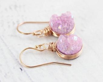Pink Rose Gold Earrings, Light Pink Druzy Earrings, Druzy Geode Earrings, Rose Gold Druzy Earrings, Bridesmaid Dangle Earrings