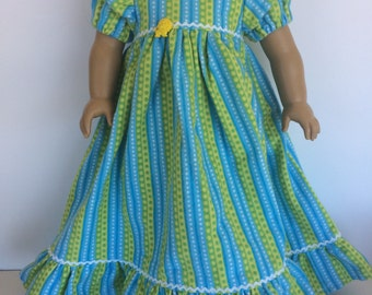 18 inch Doll Clothes - Lion Striped Green and Blue Flannel Nightgown -