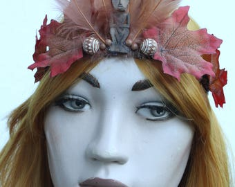 Voodoo Psytrance Feather Festival Gothic Fairy Head Dress Band Crown