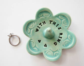 Stamped pottery dish, Keepsake Ring Dish, With This Ring,  Wheel Thrown, Clay Pottery, In Stock