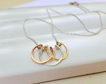 Petite Podium Necklace. Pendant Necklace. Triathlon Necklace. Runner's Necklace. Mixed Metal Pendant. Gold, Silver, Bronze.