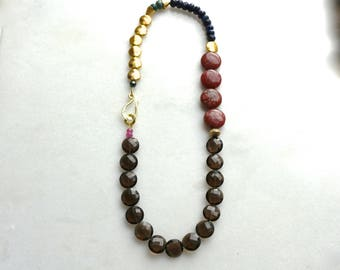 Any Which Way Smoky Quartz, Muscovite, Sapphire Necklace in 22kg Vermeil...