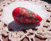 Candy Apple Red XLG Vintage Millefiori Glass Focal Bead Drop