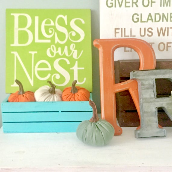 Rustic Bless our nest sign. Bless our Home. Housewarming sign. Family sign. Square Wood Sign. Typography art. Gallery wall art.