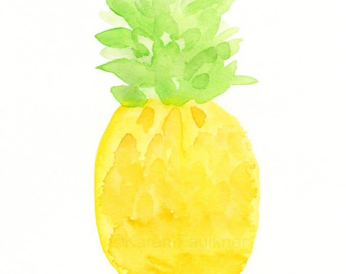 "Original watercolor painting: ""A Pineapple"""