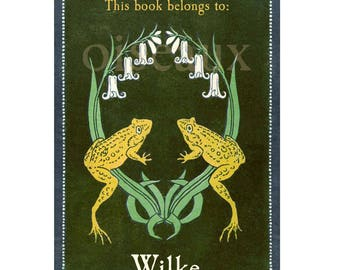 Frog Crest Bookplates - Vintage Book Labels, Personalized Present, Father's Day, Baby Shower Gift