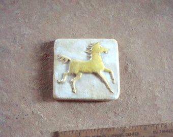 Running Yellow Horse Earthenware Ceramic Clay Relief Art Tile Handmade Mosaic 3 x 3