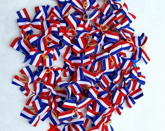 Small Patriotic Dog Bows - 24 bows Independence Day, 4th of July, USA, Military, Red White & Blue, American