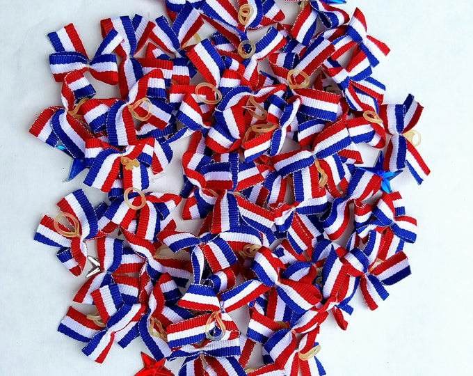 Small Patriotic  Dog Bows - 24 economy bows
