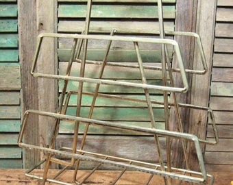 Retro Metal Atomic Magazine Holder stand  Great design and lines Mid Century brassey color