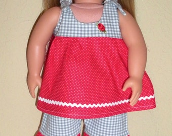 Play Outfit w/shoes---Girl doll clothes---doll shorts---doll tops