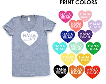 Mama Bear with Heart Women's TriBlend Heather Grey TShirt - Mother's Day, Gift for Mom, Expecting, Baby Shower