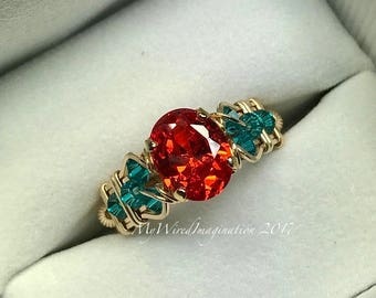 Sapphire Padparadscha Orange CZ,  Wire Wrapped Ring, 14K GF wire, Beads, Blue Zircon Swarovski Crystal, Unique Engagement, Anniversary Ring