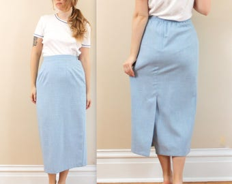 1980's High Waisted Pale Blue Pencil Skirt in Size 8 . kick pleat skirt . skirt with darts . fitted blue skirt . office professional wear