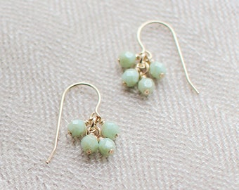 "14k goldfill earrings - ""lucky"" faceted earrings in celadon green - handmade by elephantine"