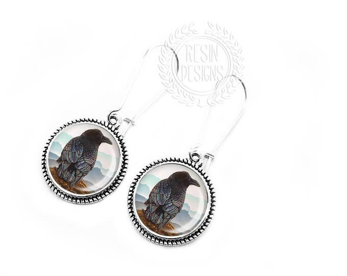 Raven Earrings, Black Crow Jewelry, Dangle Earrings, Gift for her, Handmade Jewelry, Macabre, Halloween Jewelry, Bird Jewelry, Black Bird