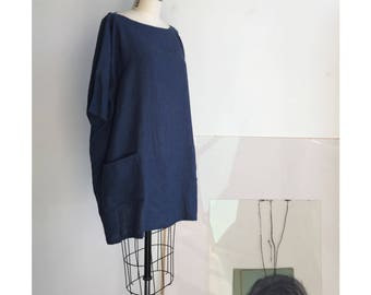 Blue Linen Dress, Dress with pockets, Loose Linen Dress, Indigo Linen Dress, Minimal Linen Clothing, Kimono Sleeve dress, Linen Tunic, L