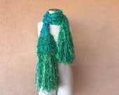 Irish Kelly Green Scarf for St Patricks Day Emerald Isles Shamrock Green St Pattys Day Sparkling Hand Knit Fringe Scarf for Women of Ireland