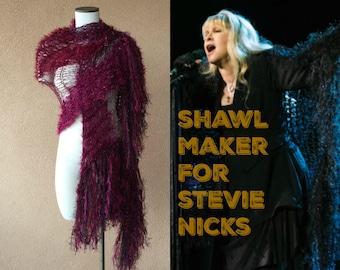 Cranberry Knit Shawl Burgundy Shawl Burgundy Wine Colored Dark Red and Maroon Shawl Wrap Fringe Wrap Blood Red Stevie Nicks Shawl