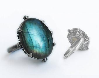 Labradorite Ring silver Labradorite engagement ring blue stone ring gemstone ring Adjustable solitaire ring gift for girlfriend women