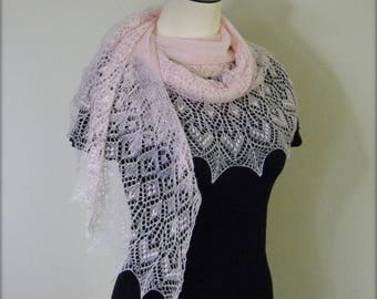Shayna Love Strawberry Lace - hand knitted shawl scarf - crescent shaped wrap shawlette - pink angora cashmere fluff