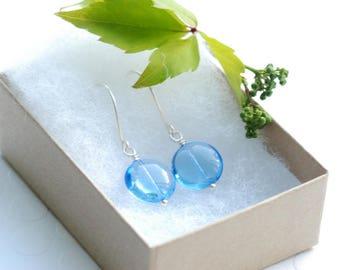 Sky Blue Earrings, Pastel Blue Earrings, Something Blue, Blue Wedding, Summer Earrings, Secret Garden, Bridesmaid Earrings, Shiny Silver