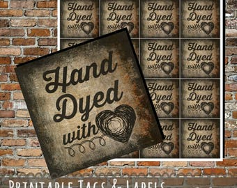 Printable PDF Tags - Vintage Hand Dyed with Love Labels for Craft Shows and Festivals - Great for Fiber Artists