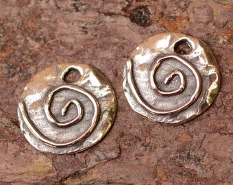 Two Sterling Silver Spiral Charms, Simplicity CH-653