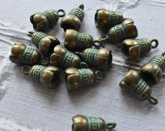 Antique Brass Verdigris  Flower Cap Charms- Boho Brass Blossom Charms Blue Green Patina-  Antiqued Jewelry Supply- Set of 15