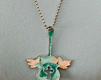 Guitar necklace - winged guitar pendant - turquoise and pink guitar necklace on ball chain