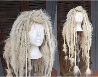 Tattered White Wig, white braids, pale blond dread locks, Wild Bohemain Wasteland wig, Halloween Costume, Cosplay Hair, Tribal Belly Dance
