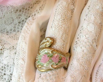Vintage Brass Spoon Style Ring Painted Pink Roses White Patina Shabby Chic Flowers Victorian Style