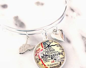 West Virginia University Map Charm Bangle Bracelet - Personalized Map Jewelry - Mountaineers - Morgantown - WVU - Graduation - Alumni