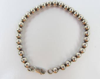 """Sterling Silver Ball Bead Bracelet - 6mm - Strung on Chain - 8.5""""    1848"""