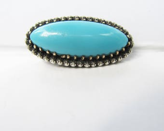 Victorian Era Antique Sterling Silver and Brass with Turquoise Glass Brooch - C Clasp    1893 TS