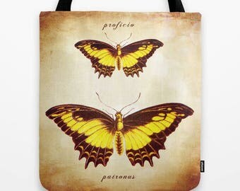 fabric tote bag with yellow butterflies- market tote bag-typography and words-nature image- nature lover gift idea for Christmas