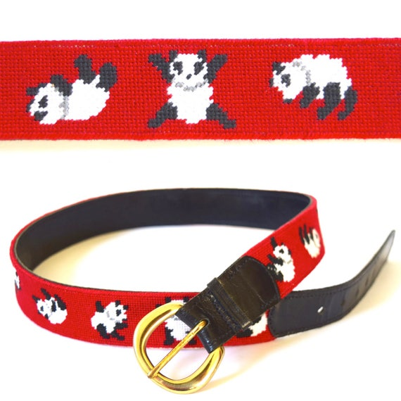 Vintage 80s 90s Cartwheeling Panda Needlepoint Embroidered Leather Belt (size medium)