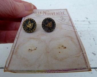 Vintage Antique 1890/1900s Victorian brass buttons set of 2 on a card / butterflies